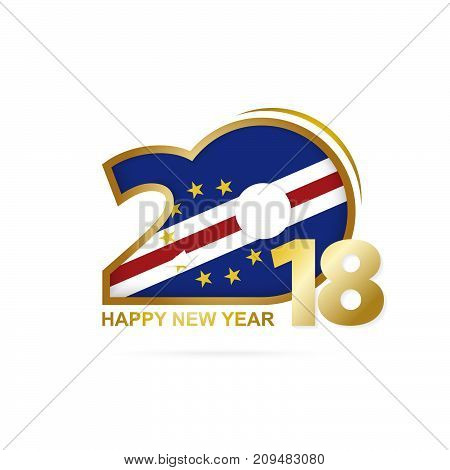 Year 2018 With Cape Verde Flag Pattern. Happy New Year Design.