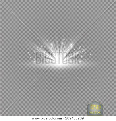 Set. Shining star, the sun particles and sparks with a highlight effect, color bokeh lights glitter and sequins. On a dark background transparent. Vector,
