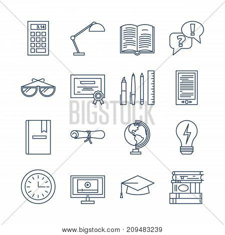 Education icons vector set isolated. Lerning or teaching collection. Online or offline education sign. School or university simbols. Computer books, diploma certificate calculator globe. Line style