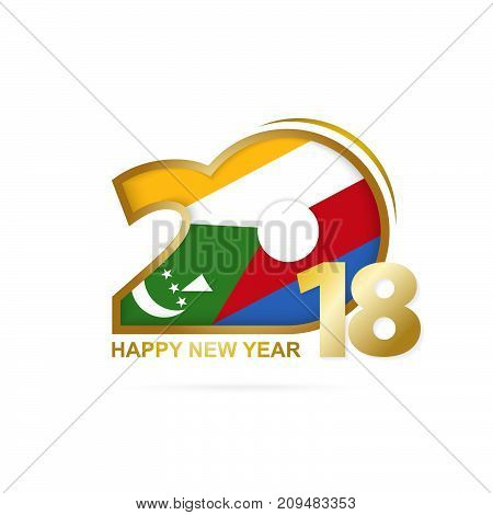 Year 2018 With Comoros Flag Pattern. Happy New Year Design.