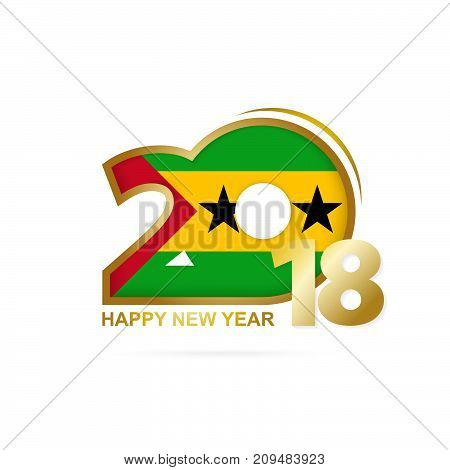 Year 2018 With Sao Tome And Principe Flag Pattern. Happy New Year Design.