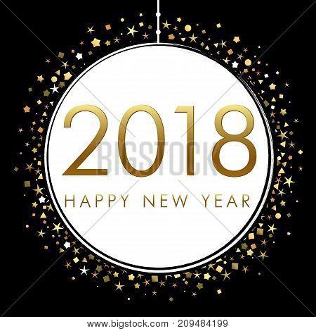2018 on white eve ball with gold glitter confetti. Happy New Year 2018 festive vip premium design template  Vector illustration