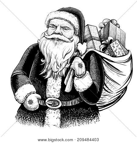 Santa Claus with sack full of presents. Vector vintage illustration. Line art, engraving texture.