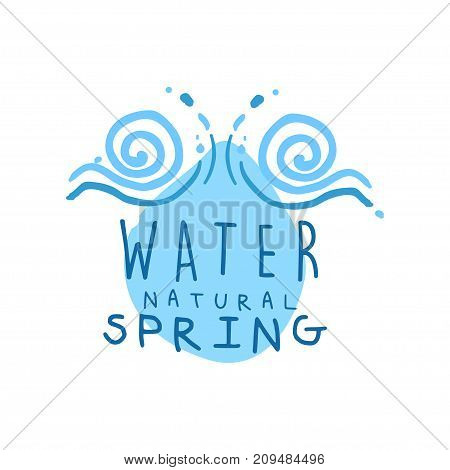 Hand drawn signs of pure spring water for logo or badge with text. Abstract blue swirling waves. Kids drawing style, ecology theme. Vector natural aqua label for mineral water isolated on white.