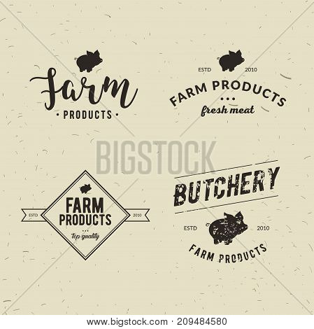 Set of retro styled butchery logo templates. Emblem of Butchery meat shop with Pig silhouette text The Butchery Fresh Meat farm products. Farmer shop market restaurant or design banner sticker