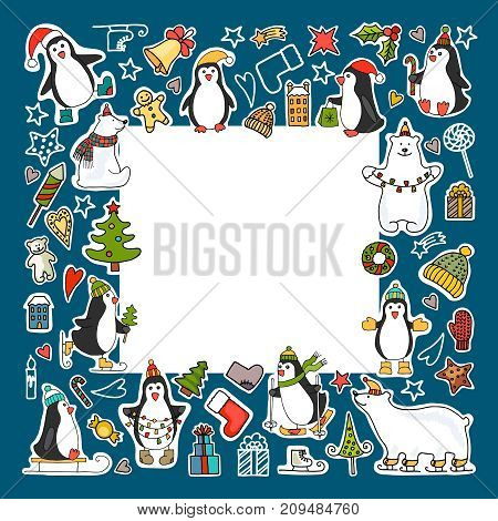 Vector set of different colored icons of polar bears and penguins