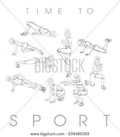 A Young Athlete Performs Exercises. Set Of Vector Sketches Of Illustrations. Sport And A Healthy Lif