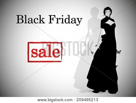 Elegant Shopping Woman Black Friday Advertising Background Template. Marketing Poster, Web Page.