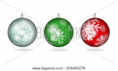 Set Of Christmas Colorful Balls With Ornament From Snowflakes.