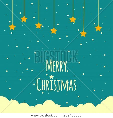 Merry christmas vector background with stars and snow