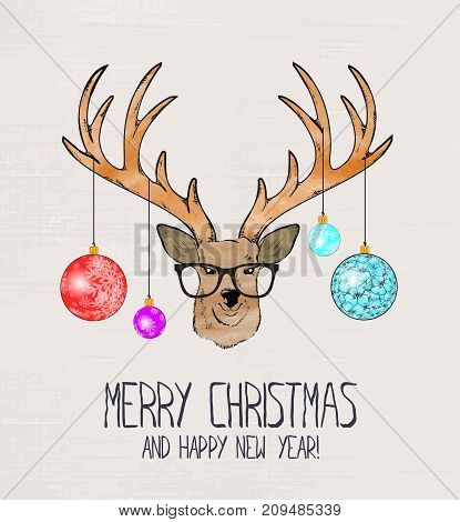 Christmas Deer. Merry Christmas And Happy New Year.