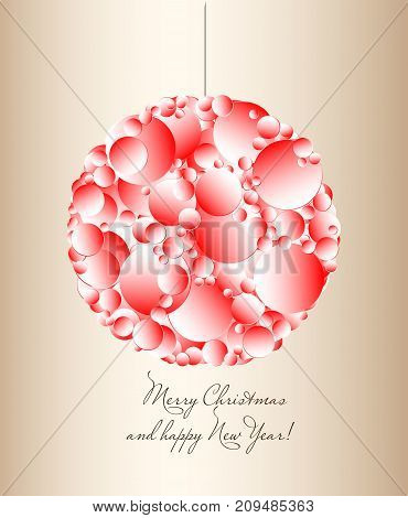 Merry Christmas And Happy New Year. Postcard With An Abstract Pattern Of Circles. Vector Illustratio