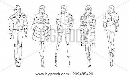 A Set Of Fashionable Sketches. Autumn-winter 2018. Fashionable Girl On A White Background.