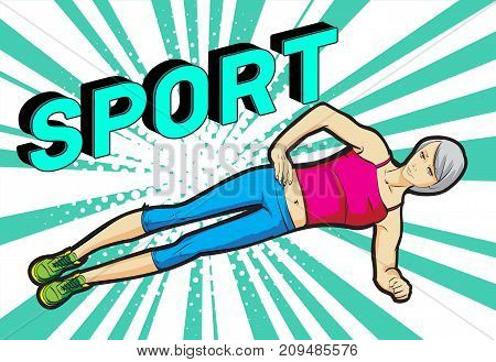 A Young Athlete Performs Exercises On The Press. Pop Art Retro Vector Illustration. Sport And A Heal