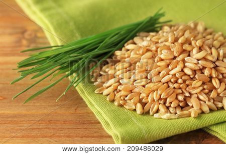 Wheat grass seeds and sprouts on wooden table, closeup