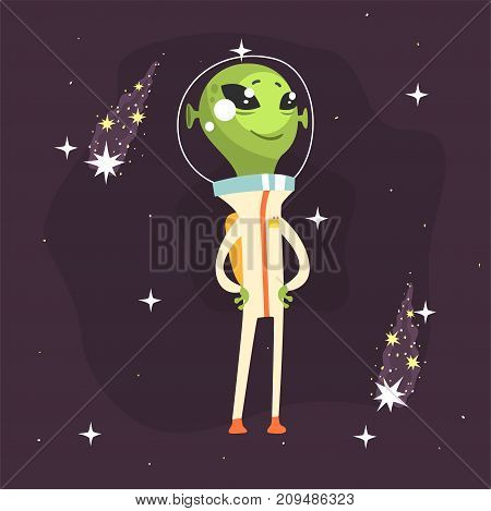 Cute smiling alien proudly posing with arms akimbo. Little green martian in white space suit. UFO theme. Funny extraterrestrial cartoon sci-fi character concept. Vector illustration in flat style.