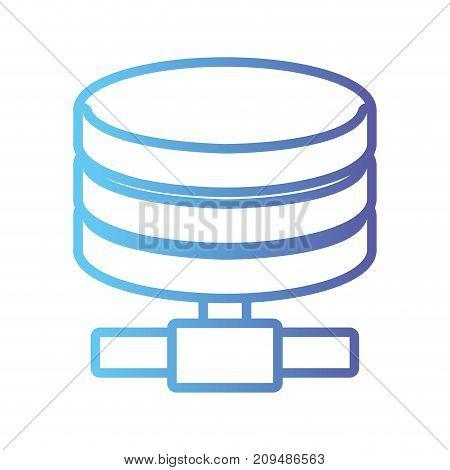 line hard disk technology data storage vector illustration