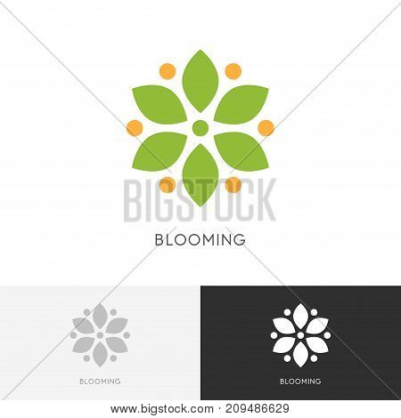 Blooming flower logo - blossom with green petals symbol. Nature, spring and flowering vector icon.