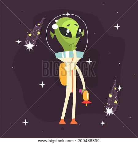 Pensive alien posing with weapon in his hand. Little green martian in white space suit. UFO theme. Funny extraterrestrial cartoon sci-fi character concept. Vector illustration in flat style.