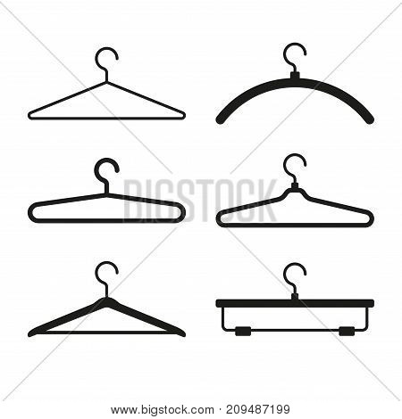 Clothes Hanger Icons Set on White Background. Vector illustration
