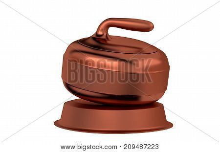 3D illustration of Curling Stone Bronze Trophy with a white background