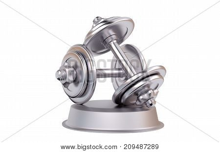 3D illustration of Dumbbell Silver Trophy with a white background