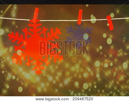 Christmas Decorations, Snowflakes, Red And Blue On The Clothespin On A Black Background
