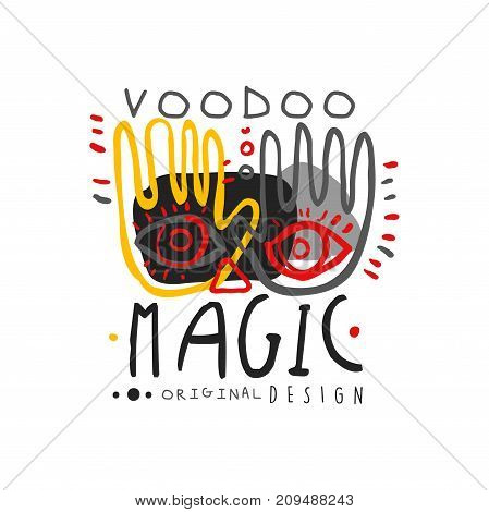 Voodoo African and American magic logo or label design with hands and face. Spiritual, magical symbols. Traditional religion of ethnic group. Hand drawn mystical vector illustration isolated on white.