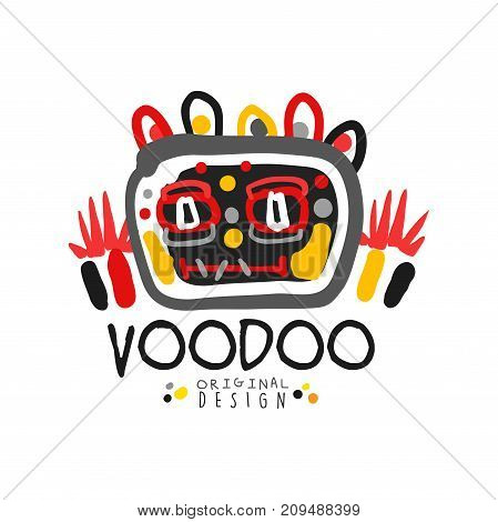 Voodoo African and American magic logo or label, abstract head. Spiritual, magical, cultural symbols. Traditional religion. Hand drawn mystical vector illustration isolated on white.