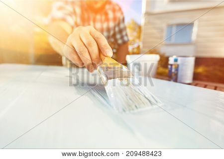 Painting wooden man wood table color background