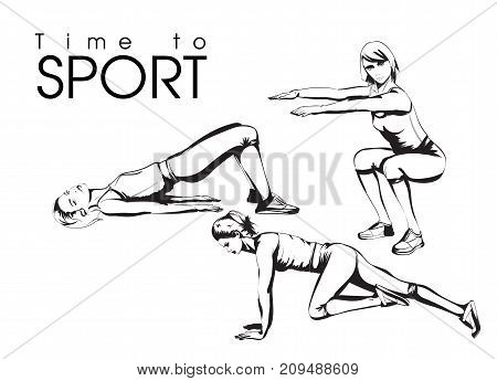 Tine To Sport. A Young Athlete Performs Exercises. Set Of Vector Sketches Of Illustrations. Sport An