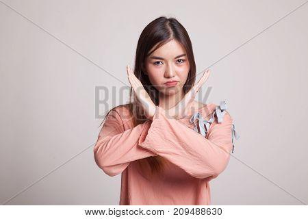 Beautiful Young Asian Woman Say No.