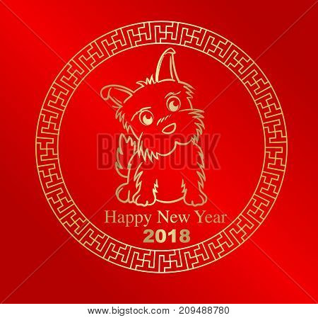 Happy Chinese New Year 2018. Dog In Circle Frame. Chinese Gold Vector Design.