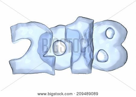 2018 Happy New Year Icy Text