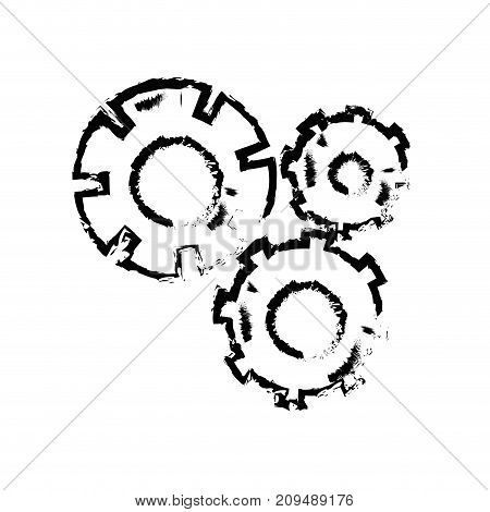 figure gear industry engineering process vector illustration