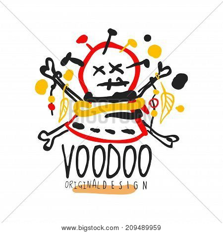 Voodoo African and American magic logo or label design, abstract head with needles. Spiritual, magical, cultural symbol. Traditional religion. Hand drawn mystical vector illustration isolated on white