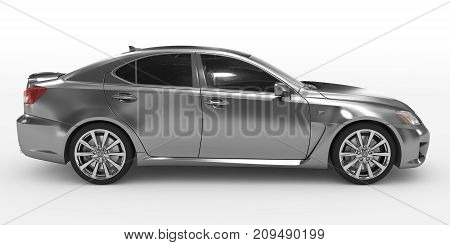 Car Isolated On White - Metal, Tinted Glass - Right Side View