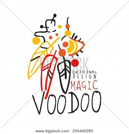 Voodoo African and American magic label design with feathers. Spiritual, magical, cultural symbols for vodun shop. Traditional religion. Hand drawn mystical vector illustration isolated on white.
