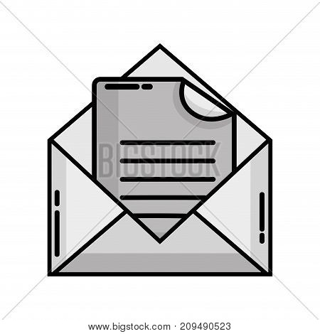 grayscale e-mail message with document information vector illustration