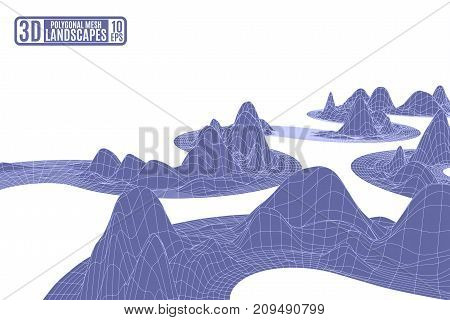 purple frame mountains on a white background for advertising and presentations