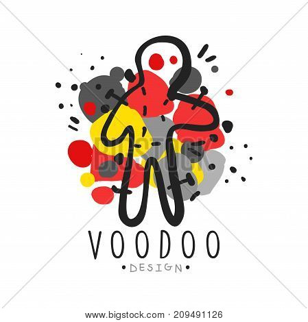 Voodoo African and American magic logo or label design, doll with needles. Spiritual, magical, cultural symbols. Traditional religion. Hand drawn mystical vector illustration isolated on white.