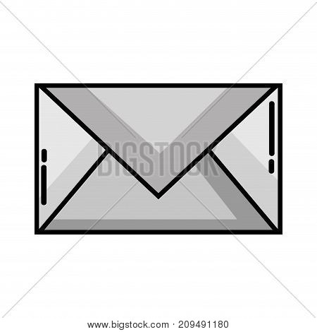 grayscale letter card closed with message information vector illustration