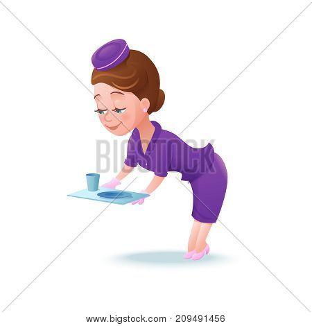Stewardess cartoon character, airline crew member, cute girl in violet uniform serving food, vector illustration