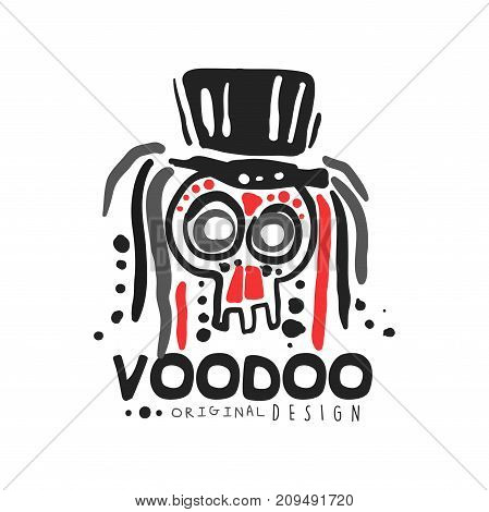 Voodoo African and American magic logo or label design, abstract skull with hat. Spiritual, magical, cultural symbols. Traditional religion. Hand drawn mystical vector illustration isolated on white.