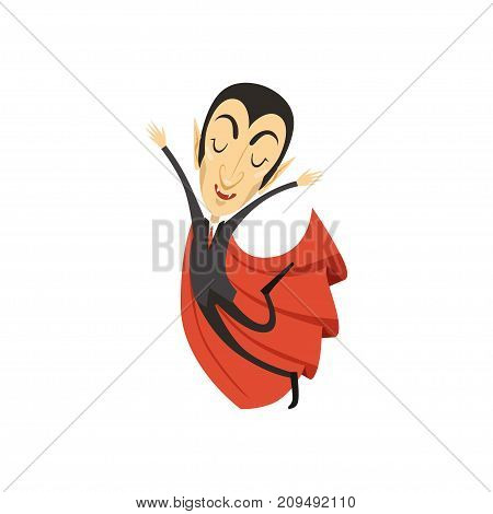 Happy count Dracula wearing black suit and red cape, walking on air. Gothic horror cute cartoon vampire character with fangs. Happy Halloween. Flat design. Vector illustration isolated on white.