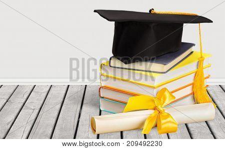 Stack hat graduation grad white background celebration