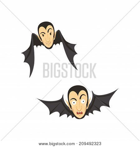 Count Dracula as a bat, flying. Vampire head and bat wings. Happy and surprised face expression. Gothic horror cartoon character with fangs. Happy Halloween. Flat design vector illustration isolated.
