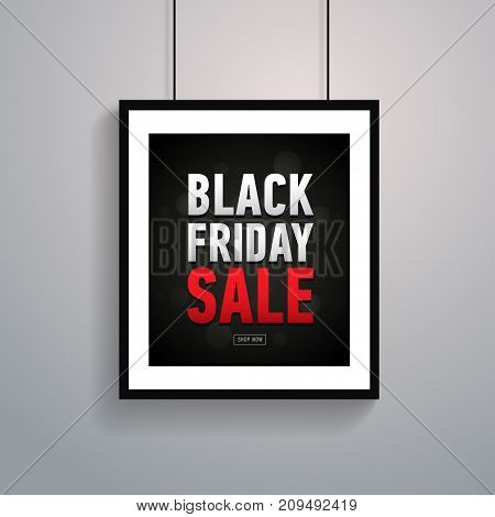 Black friday sale poster in frame hanging on wall. Trendy banner. Online shopping.