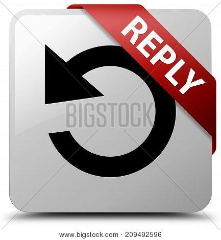 Reply (rotate Arrow Icon) White Square Button Red Ribbon In Corner