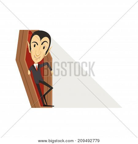 Happy count Dracula wearing black suit. Standing in the coffin. Gothic horror cartoon insidious vampire character with fangs. Happy Halloween. Flat design vector illustration isolated on white